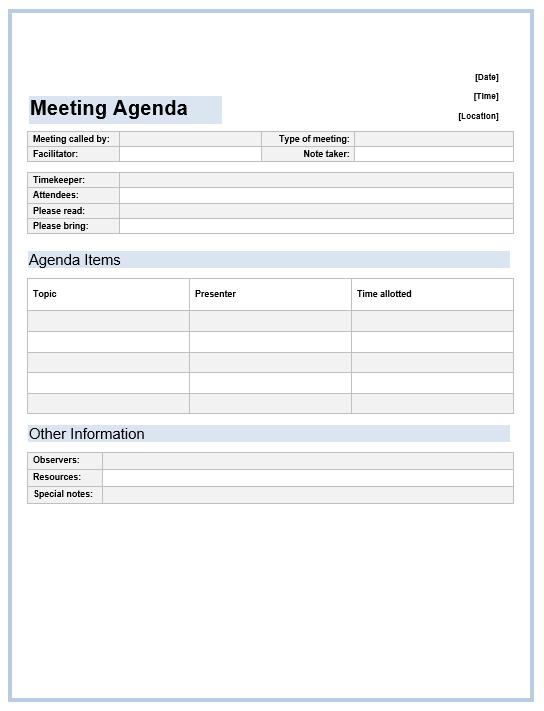 Similiar Office Meeting Agenda Template Keywords